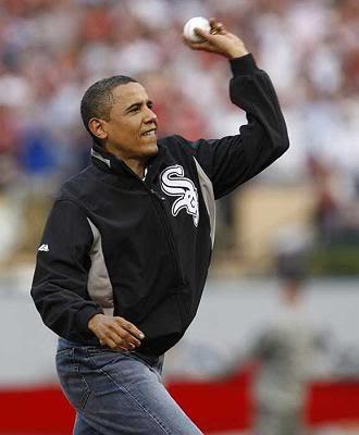 Obama Throws Baseball